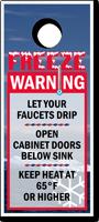 Freeze Warning Keep Heat 65° Door Hanger Tag