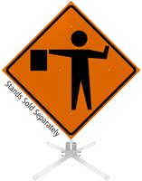 Flagger Symbol Roll-Up Sign