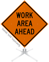 Work Area Ahead Roll-Up Sign