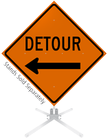 Detour Left Arrow Symbol Roll-Up Sign