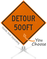 Detour 500 Feet Roll-Up Sign