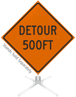 Detour 500 Feet and 1000 Feet Roll-Up Sign