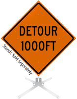 Detour 1000 Feet Roll-Up Sign