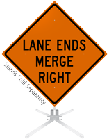 Lane Ends Merge Right Roll-Up Sign