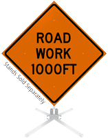 Road Work 1000 Feet Roll-Up Sign