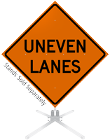 Uneven Lanes Roll-Up Sign