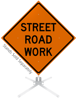 Street Road Work Roll-Up Sign