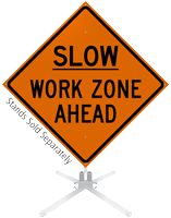 Slow Work Zone Ahead Roll-Up Sign