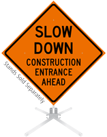 Slow Down Construction Entrance Roll-Up Sign