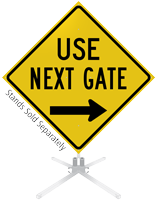 Use Next Gate Right Arrow Roll-Up Sign