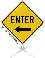 Enter Left Arrow Roll-Up Sign
