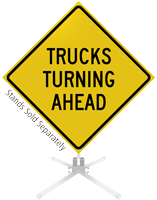 Trucks Turning Ahead Roll-Up Sign