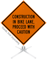 Construction In Bike Lane Roll-Up Sign