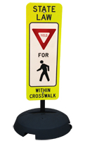 State Law Pedestrians Yield Road Traffic Sign and Post Kit