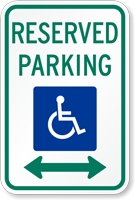 ADA Reserved Parking Sign with Arrow
