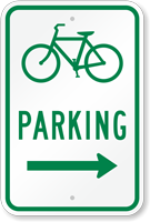 Bicycle Parking Sign with Arrow