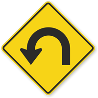 Hairpin Left Curve Symbol - Sharp Turn Sign