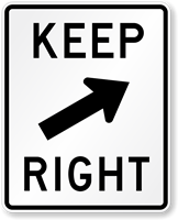 Keep Right Road (Symbol) Traffic Sign