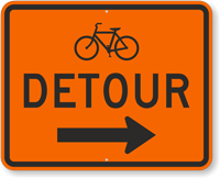 Bicycle Detour Route Marker Sign with Arrow