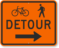 Bicycle Pedestrian Detour Traffic Sign with Arrow
