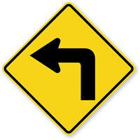 Left Turn Symbol - Traffic Sign