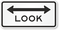 Look Traffic Sign with Arrow