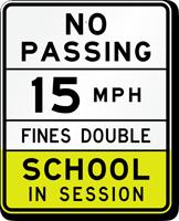 Arizona 15 MPH Speed School Zone Sign