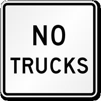 No Trucks Road Traffic Sign