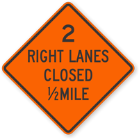 Two Right Lanes Closed Mile - Traffic Sign