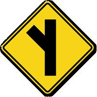Side Road On Left (Symbol) Sign