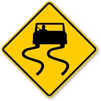 Slippery When Wet (Symbol) - Road Warning Sign