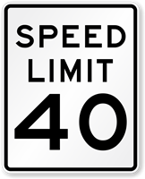 Speed Limit 40 For Road Traffic Sign