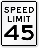45 Speed Limit Road Traffic Sign