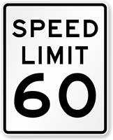 60 Speed Limit Road Traffic Sign