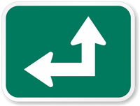 Straight Thru Left Arrow (Symbol) Traffic Sign