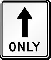 Straight Thru Only Symbol Sign