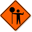 Flagger Symbol Traffic Control Sign