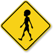 Alien Crossing Symbol Sign