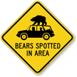 Bears Spotted In Area Caution Sign