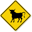 Bull Crossing Sign
