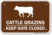 Cattle Grazing Keep Gate Closed Sign