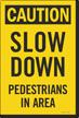 Caution Slow Down Pedestrians In Area Sidewalk Panel