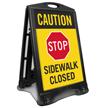 Caution Stop Sidewalk Closed Sidewalk Sign