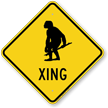 Cave Man Xing Crossing Road Sign