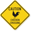 Chicken Crossing Caution Sign