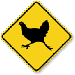 Chicken Crossing Symbol Sign