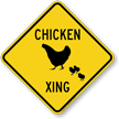 Chicken Xing Diamond Crossing Sign