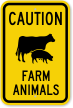 Farm Animals Cow & Pig Symbol Caution Sign