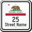 Custom California Republic Highway Sign