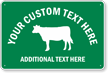 Custom Animal Crossing Sign with Cow Graphic